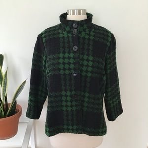 Vintage Green & Black Wool Jacket